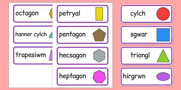 2D Shape Word Cards Cymraeg - cymreag, welsh, 2d shape, word cards, word, cards, maths, numeracy, shape