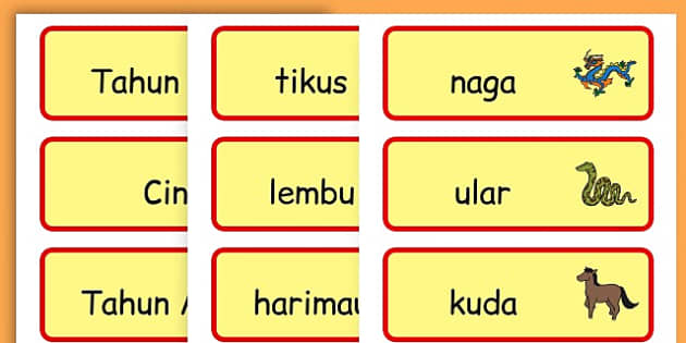Chinese New Year Topic Word Cards - chinese new year, word cards - Malay