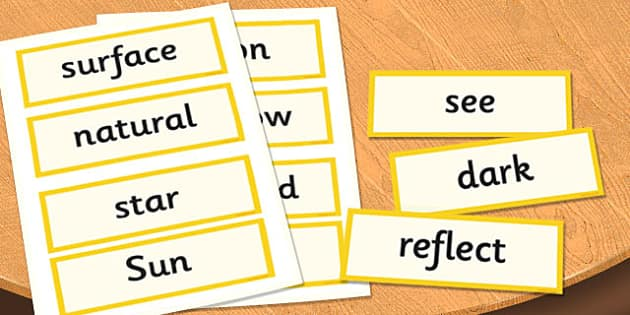 Year 3 Light Scientific Vocabulary Cards - science, lights, words