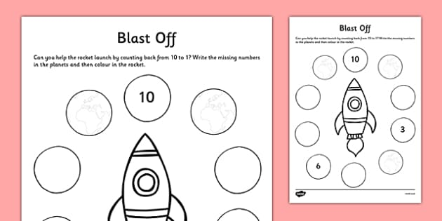 Counting Back Activity Sheet - CfE, numeracy, counting back, numbers to 10, worksheet