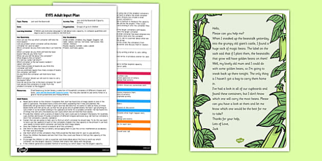 Jack and the Beanstalk Capacity Activity EYFS Adult Input Plan and Resource Pack
