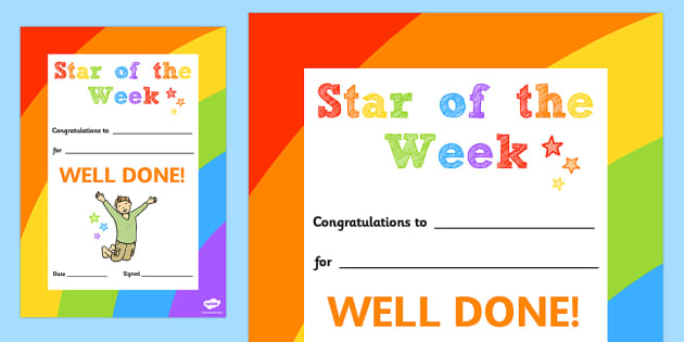 Star of the Week Decorative Certificate - certificate, star, week