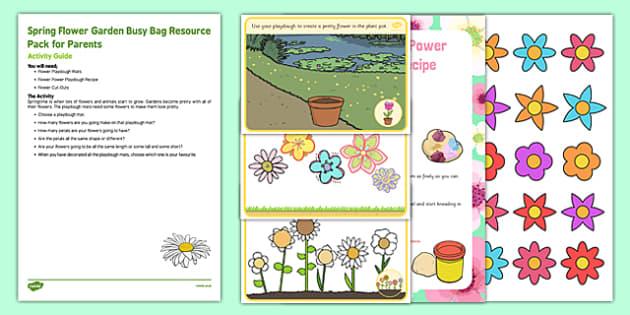 Spring Flower Garden Busy Bag Resource Pack for Parents - Gardens, flowers, spring, eyfs