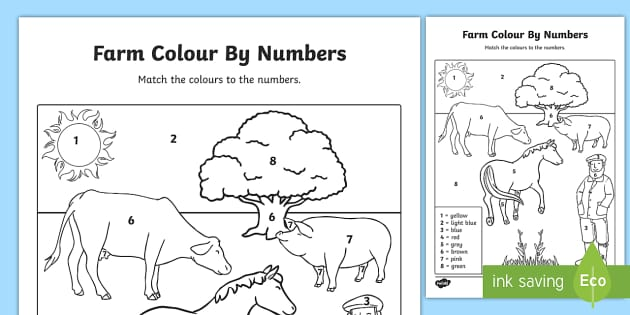Farm Colour by Numbers - colouring, colouring activities, count