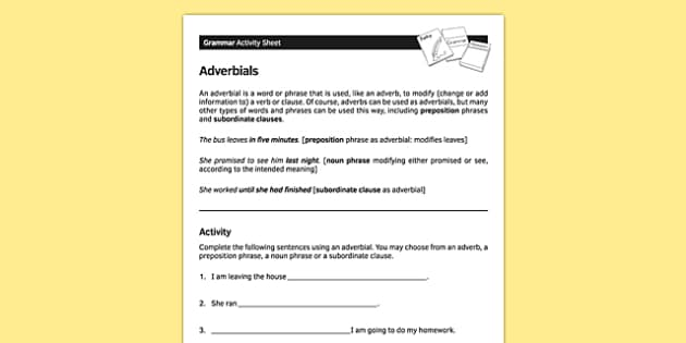 KS3 English Curriculum Adverbials Activity Sheet - ks3, english, curriculum, activity sheet, adverbials, grammar, worksheet