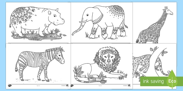 Safari Mindfulness Colouring Sheets - Mindfulness, Colouring, relax,