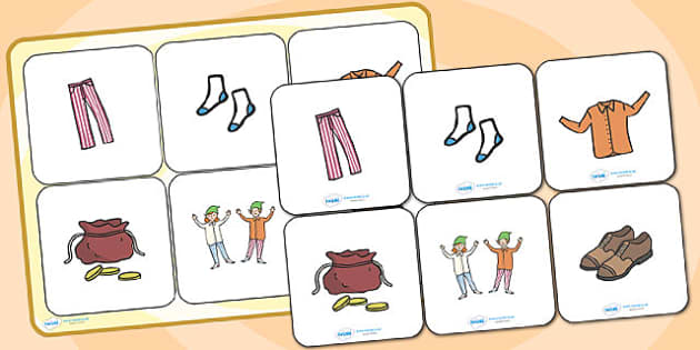 The Elves and the Shoemaker Matching Cards and Board - the elves and the shoemaker matching game, the elves and the shoemaker picture matching activity