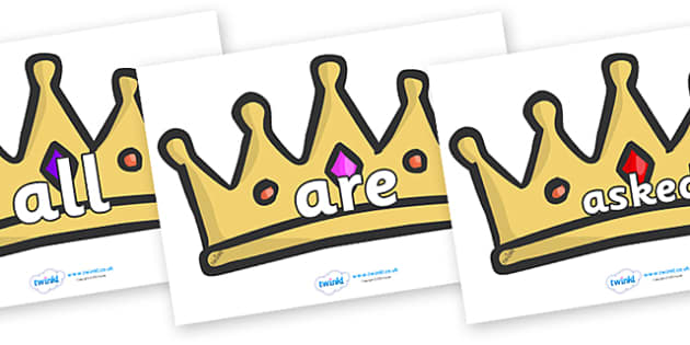 Tricky Words on Crowns - Tricky words, DfES Letters and Sounds, Letters and sounds, display, words