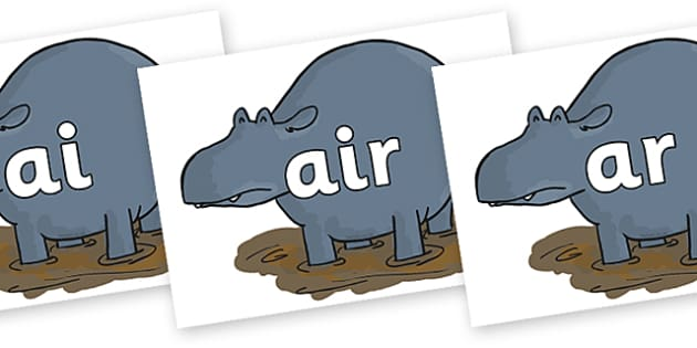 Phase 3 Phonemes on Humpy Rumpy Hippopotamus to Support Teaching on The Enormous Crocodile - Phonemes, phoneme, Phase 3, Phase three, Foundation, Literacy, Letters and Sounds, DfES, display