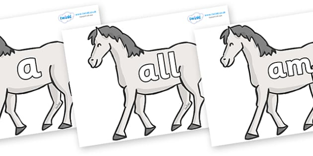 Foundation Stage 2 Keywords on Horses - FS2, CLL, keywords, Communication language and literacy,  Display, Key words, high frequency words, foundation stage literacy, DfES Letters and Sounds, Letters and Sounds, spelling