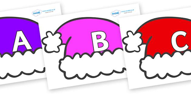 A-Z Alphabet on Santa Hats - A-Z, A4, display, Alphabet frieze, Display letters, Letter posters, A-Z letters, Alphabet flashcards