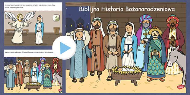 Prezentacja PowerPoint Boże Narodzeniepo polsku - gwiazdka, Jezus