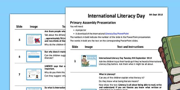 International Literacy Day 2015 Assembly Presentation - assembly
