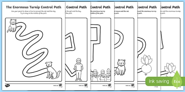 The Enormous Turnip Pencil Control Path Sheets - control