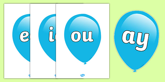 Phase 5 Phonemes on Balloons - phase 5, phonemes, balloons, 5
