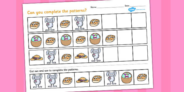 Easter Complete the Pattern Worksheet - easter, pattern, sheet