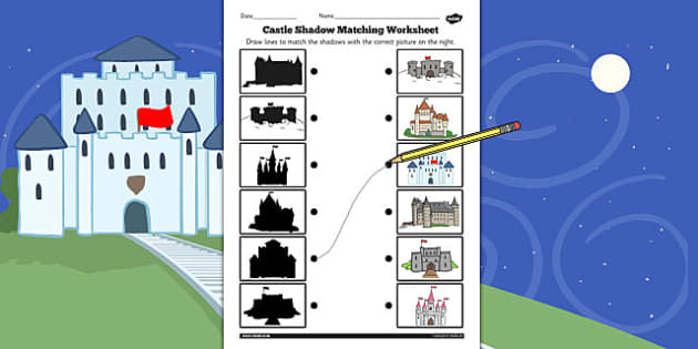 Castles Shadow Matching Worksheet - castles, shadow, matching