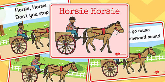 Horsie Horsie Sequencing - horsie horsie, sequencing, rhyme