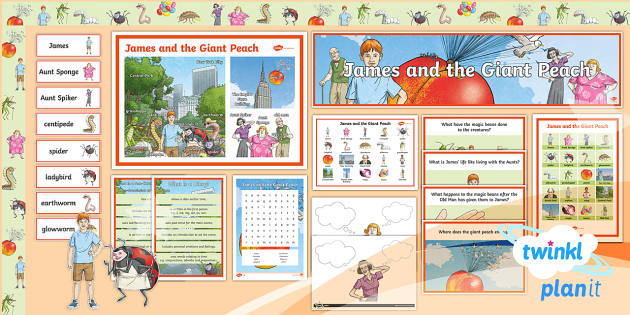 PlanIt Y4 Explorers: James and the Giant Peach Additional Resources - Roald Dahl, additional resources, display, activities, learning wall
