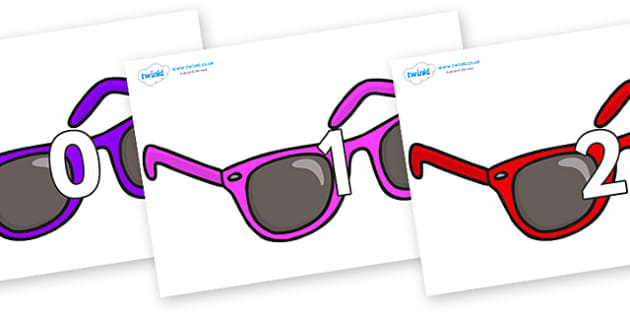 Numbers 0-31 on Sunglasses - 0-31, foundation stage numeracy, Number recognition, Number flashcards, counting, number frieze, Display numbers, number posters