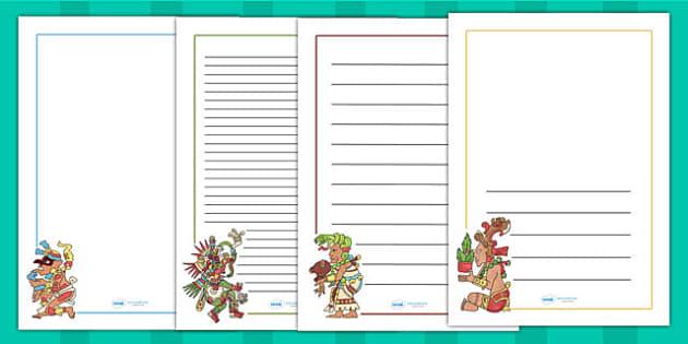 Maya Gods Page Borders - writing templates, mayans, ancient maya