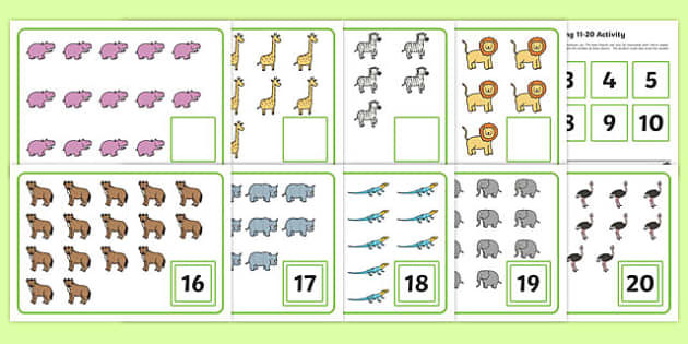 Workstation Pack   Number Matching (11 - 20) Activity Pack