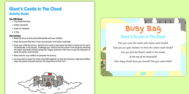 Giants Castle In The Clouds Busy Bag Resource Pack for Parents - Jack and the Beanstalk, cotton wool, tweezers, fine motor skills