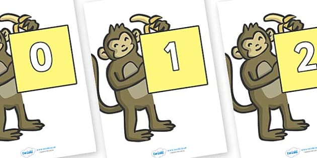 Numbers 0-100 on Monkeys - 0-100, foundation stage numeracy, Number recognition, Number flashcards, counting, number frieze, Display numbers, number posters