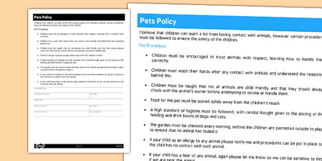 Pets Policy for Childminders - childminders, policy, pets, child