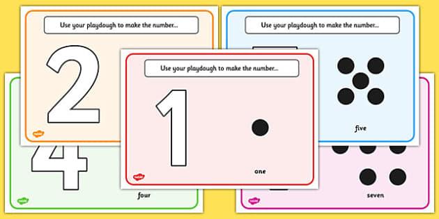 Simple Number Playdough Mats (1-10) - Playdough mat, playdough resources, numeracy, numbers, playdough