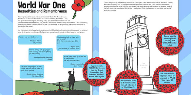 World War One Casualties and Remembrance - world war one, ww1