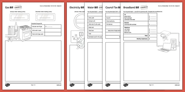 Student Led Practice Sheet Budget at Home Bills Bills Bills GCSE Grades 4-5 - KS3, KS4, GCSE, Maths, Finance, Budget, Home, independent learning, growth mindset, practise, assessment