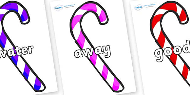 Next 200 Common Words on Candy Canes (Multicolour) - Next 200 Common Words on  - DfES Letters and Sounds, Letters and Sounds, Letters and sounds words, Common words, 200 common words