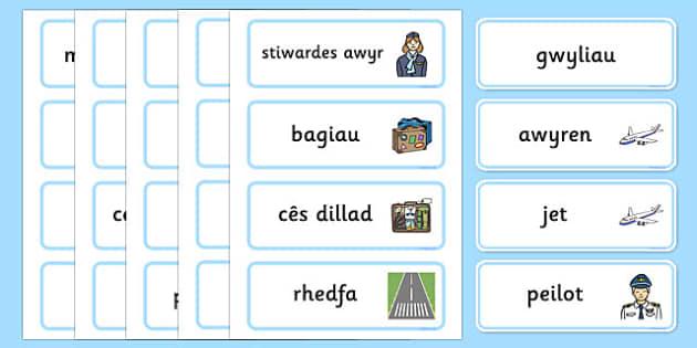 Cardiau Geiriau Thema Teithio a Gwyliau Word Cards-Welsh