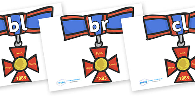 Initial Letter Blends on Medals - Initial Letters, initial letter, letter blend, letter blends, consonant, consonants, digraph, trigraph, literacy, alphabet, letters, foundation stage literacy