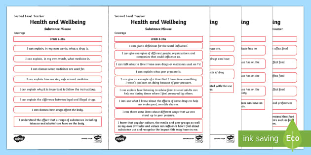 CfE Health and Wellbeing (Substance Misuse) Second Level Child Friendly Tracking-Scottish - Child Friendly Tracking CfE, tracker, HWB, curriculum for excellence, 2nd level, progression, I can,