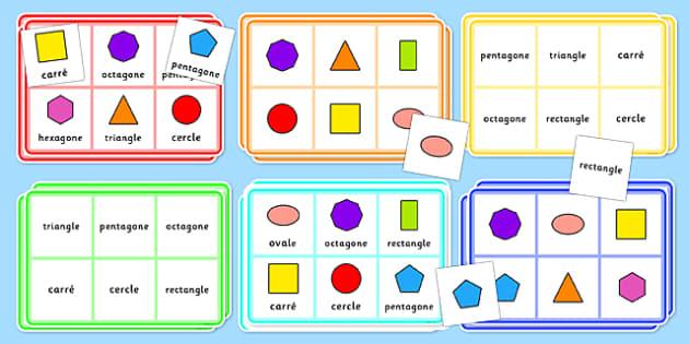2D Shape Bingo French - french, 2d shape, bingo, game, activity, shape, 2d, maths, numeracy,2Dshape