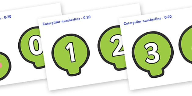 Numbers 0-20 Caterpillar Number Line - Caterpillar numberline, numberline, Foundation Numeracy, Number recognition, Number flashcards, counting, display, frieze