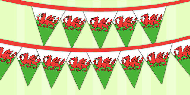Wales Tourist Information Role Play Welsh Flag Bunting - display