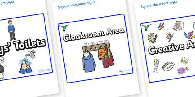 Hummingbird Themed Editable Square Classroom Area Signs (Plain) - Themed Classroom Area Signs, KS1, Banner, Foundation Stage Area Signs, Classroom labels, Area labels, Area Signs, Classroom Areas, Poster, Display, Areas