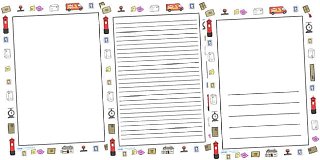 Post Office Full Page Borders - page border, border, frame, writing frame, writing template, post office, post office page borders, post office full borders, writing aid, writing, A4 page, page edge, writing activities, lined page, lined pages, readi