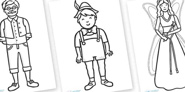 Pinocchio Colouring Sheets - Pinocchio, Geppetto, Blue Fairy, wand, father, boy, puppet, colouring, fine motor skills, poster, worksheet, vines, A4, display,  puppet show, cat, dog, ears and tail, nose, magic tree, coins, raft, school, son, child, sh