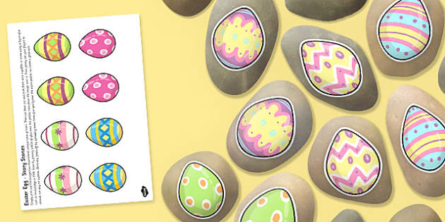 Easter Egg Story Stone Image Cut Outs - Story stones, stone art, painted rocks, storytelling, celebration, festival