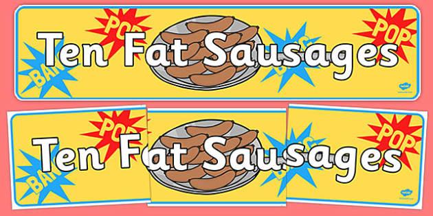 Ten Fat Sausages Display Banner - ten fat sausages, display banner, display, banner