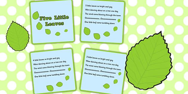 Five Little Leaves Counting Song Sequencing Cards - counting, song