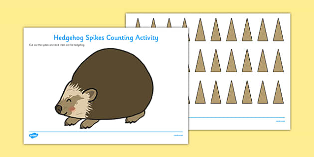 Hedgehog Spikes Counting Activity - Hedgehog, spikes, count, scissors, glue, cutting, sticking, counting, numbers, maths
