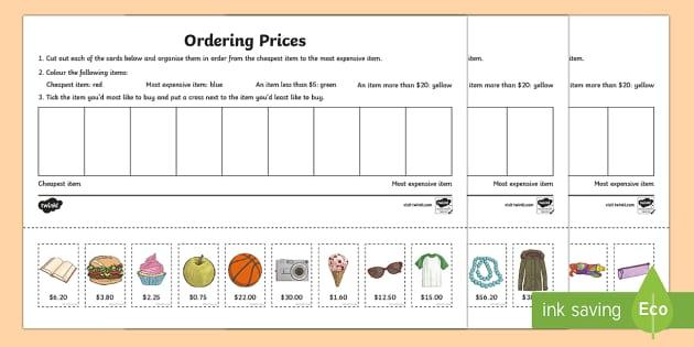Cut and order items Activity Sheet - Australian currency, money, notes, coins, Australian curriculum, maths, worksheet, ACMNA034,Australi