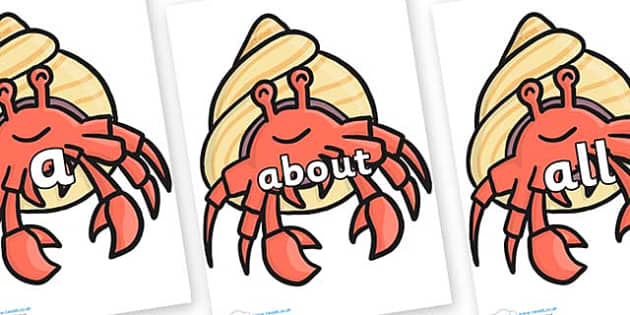 100 High Frequency Words on Hermit Crabs - High frequency words, hfw, DfES Letters and Sounds, Letters and Sounds, display words