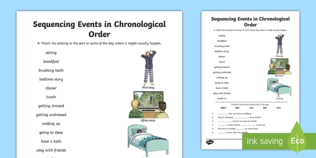Sequencing Events in Chronological Order Activity Sheet - Learning from Home Maths Workbooks, time vocabulary, then, next, after, before, times of the day, Wo