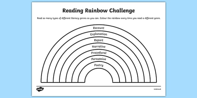 Reading Rainbow Challenge Activity Sheet, worksheet
